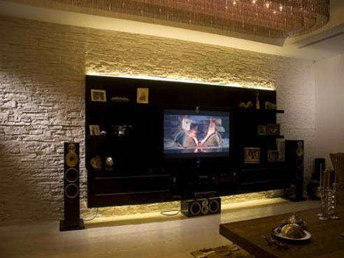 duvar dekorasyonu taşlı duvar ve monte edilebilir tv ünitesi