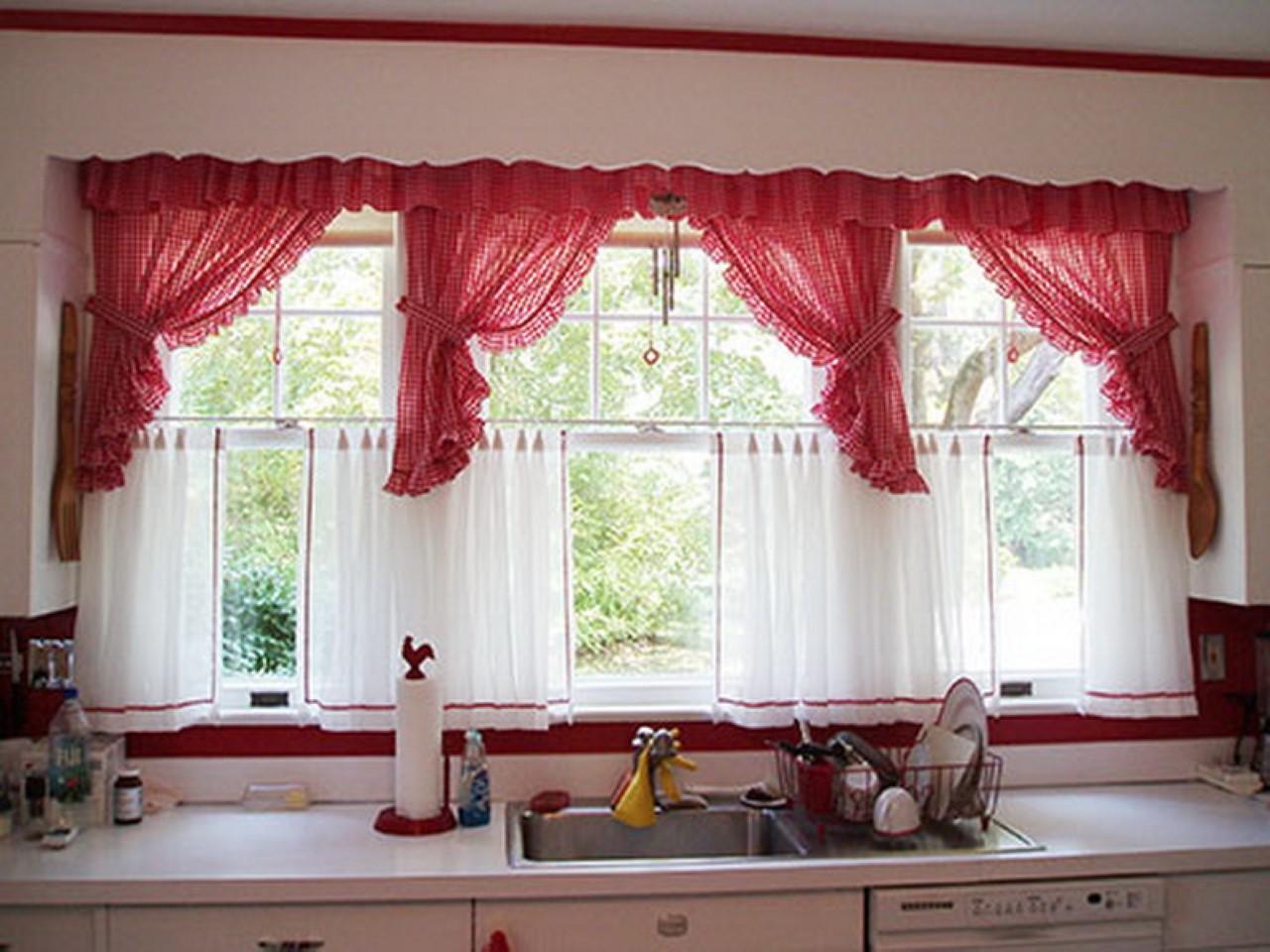 mutfak için Kırmızı perde modelleri ve fiyatları